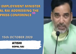 DELHI EMPLOYMENT MINISTER GOPAL RAI ADDRESSES PRESS CONFERENCE