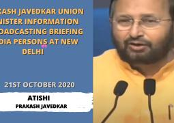 PRAKASH JAVEDKAR UNION MINISTER INFORMATION & BROADCASTING BRIEFING MEDIAPERSONS AT NEW DELHI